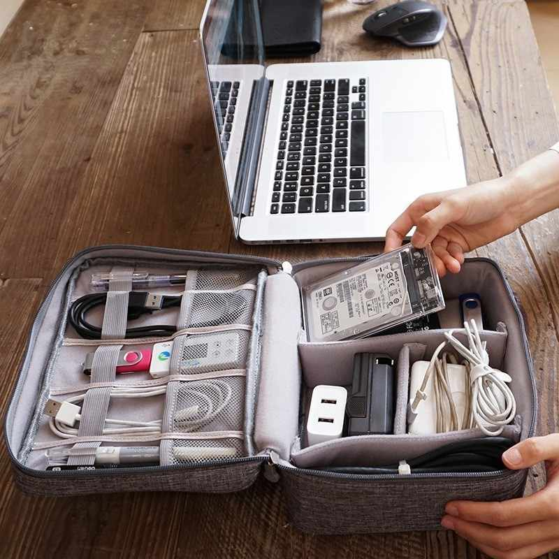 Dispositivo Digital multifuncional Saco Organizador da Viagem Gadget USB Cabo do Carregador Recipiente Caixa De Armazenamento De Acessórios Digitais