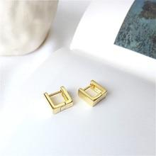 Fengxiaoling новые модные геометрические прямоугольник стереоскопического серьги для Для женщин 925 пробы серебряные серьги ювелирные изделия