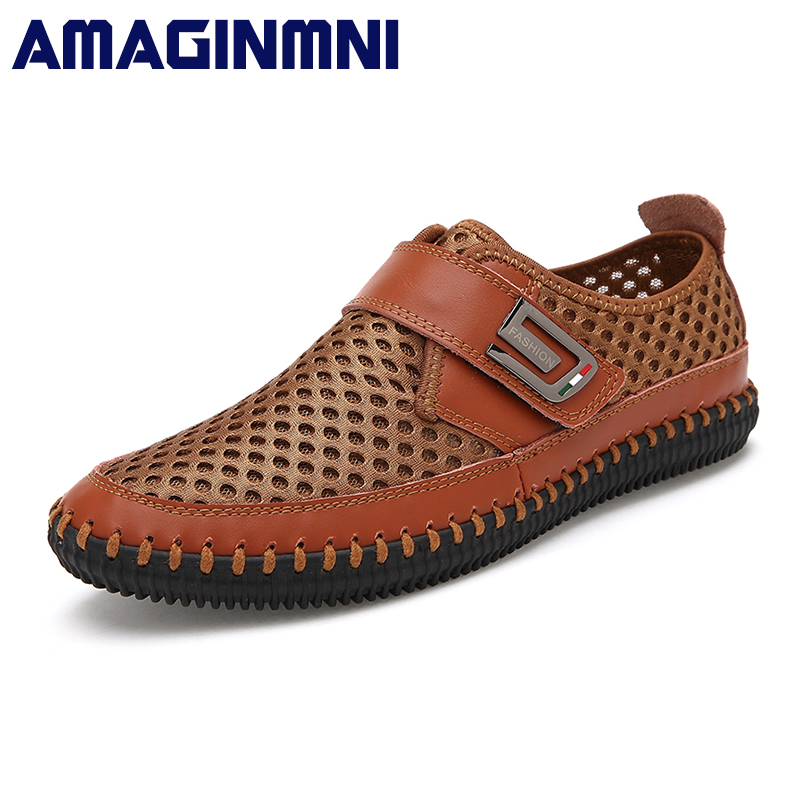 AMAGINMNI New Comfortable Casual Shoes Loafers Men Shoes Hot Sale Moccasins Shoes Fashionable breathable brand driving shoes men