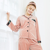 Fall 2018 New Pajamas Women's Velour Sleepwear Winter Women Pijama 2 Pcs Sets Nightwear Home Clothing Pleuche Leisure Wear SR978