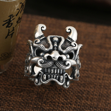 Sterling silver S925 Tang Shi evil spirits live ring trend men's fashion open ring 925 sterling silver jewelry necklace pendant retro evil vajra pestle jiangmo avoid evil spirits musical instruments