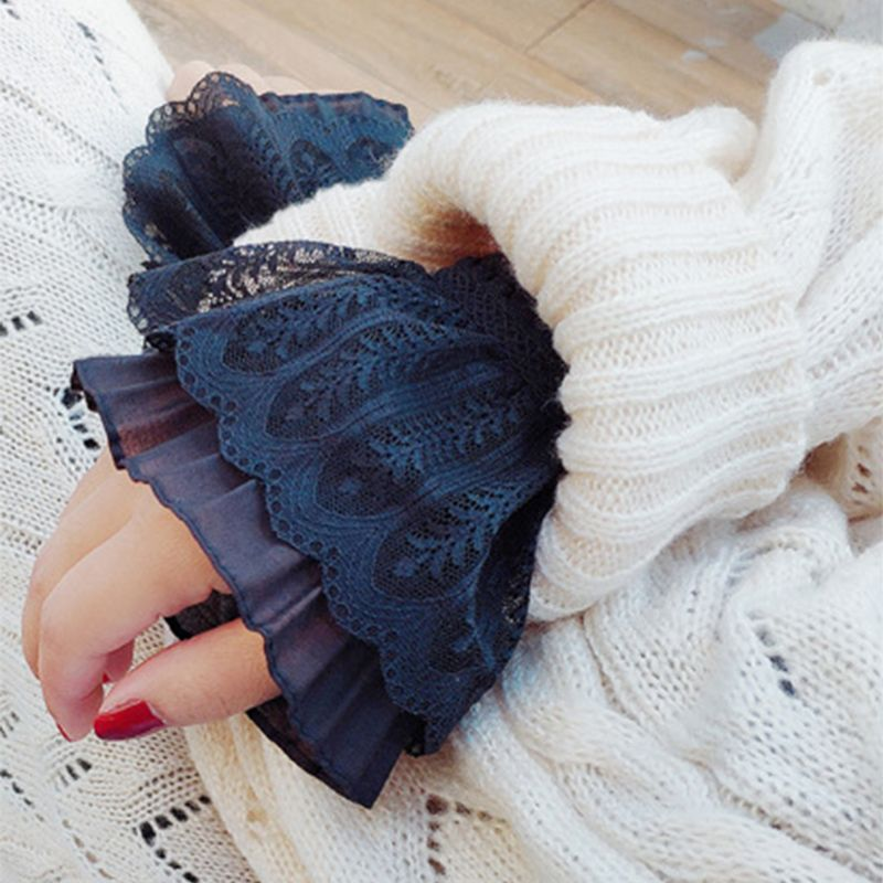 Women Girl Fake Flare Sleeves Floral Lace Pleated Ruched False Cuffs Sweater Blouse Apparel Wrist Warmers With Faux Pearl Button