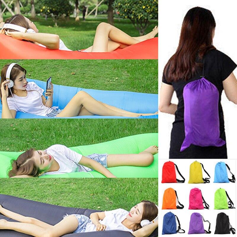 210*70 cm/240*70 cm inflable bolsa de aire saco de dormir de aire portátil Banana sofá cama de aire de Nylon sofá Perezoso