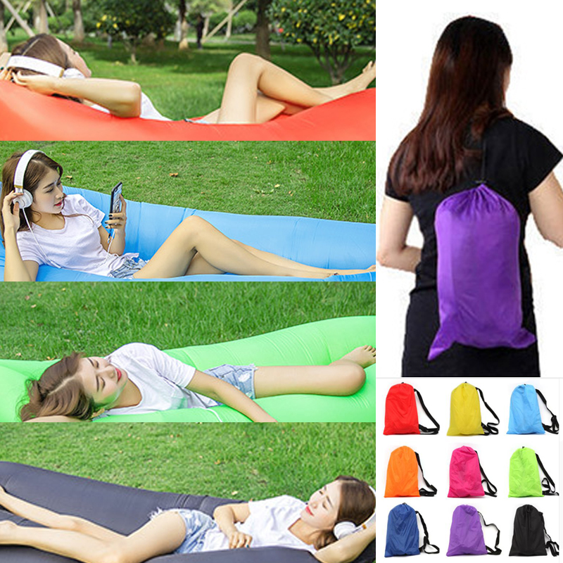 210*70cm / 240*70cm Fast Inflatable Lazy bag Air Sleeping Bag Camping Portable Air Banana Sofa Beach Bed Air Nylon Sofa Laybag