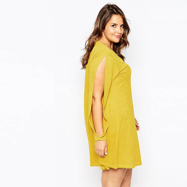 placeholder 2016 Brand Casual Autumn Slit Long Sleeves Yellow Dress Cute Mini  Women Shift Dresses Sexy V 3e3d2c99abe3