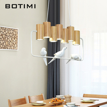 BOTIMI LED Pendant Lights For Dining Room Birds Pedant Light Wooden Hanging Lamp Restaurant Wood Bar Decoration Lighting Fixture vintage indoor lighting pendant light wood aluminum lamp restaurant bar coffee dining room led hanging decoration light fixture