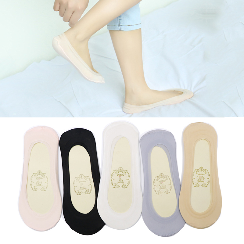 5pairs Summer Boat Socks for Women Slippers Socks Solid Color Silicone Gel No Show Socks Non Slip Low Cut Shoe Liner Calcetines