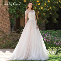 Ashley Carol Sexy Scoop Beaded Long Sleeve Tulle Wedding Dress 2019 Illusion Vintage Bride Dresses Lace Princess Wedding Gowns