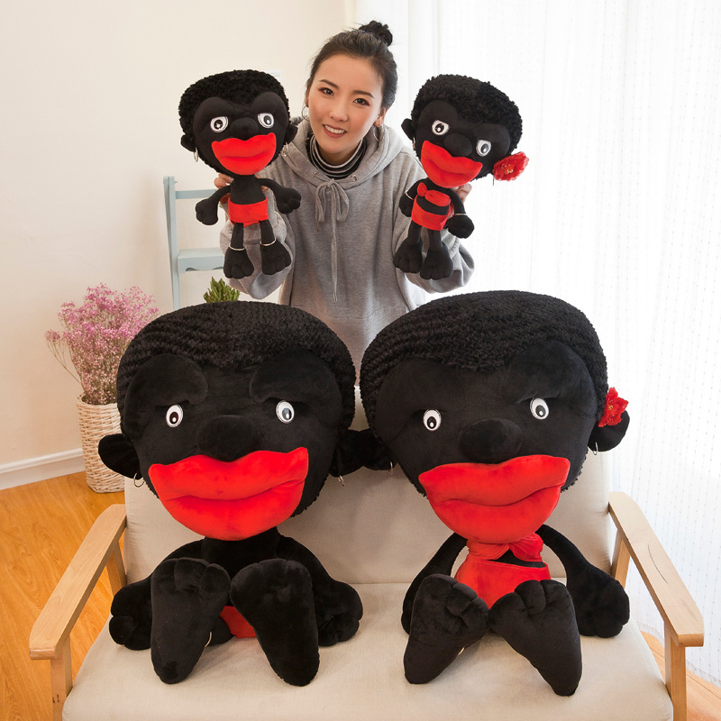 New Personality Funny Cute Couple Models African Small Black Chimpanzee Doll Plush Toy Doll To Send Girlfriend Birthday Gift