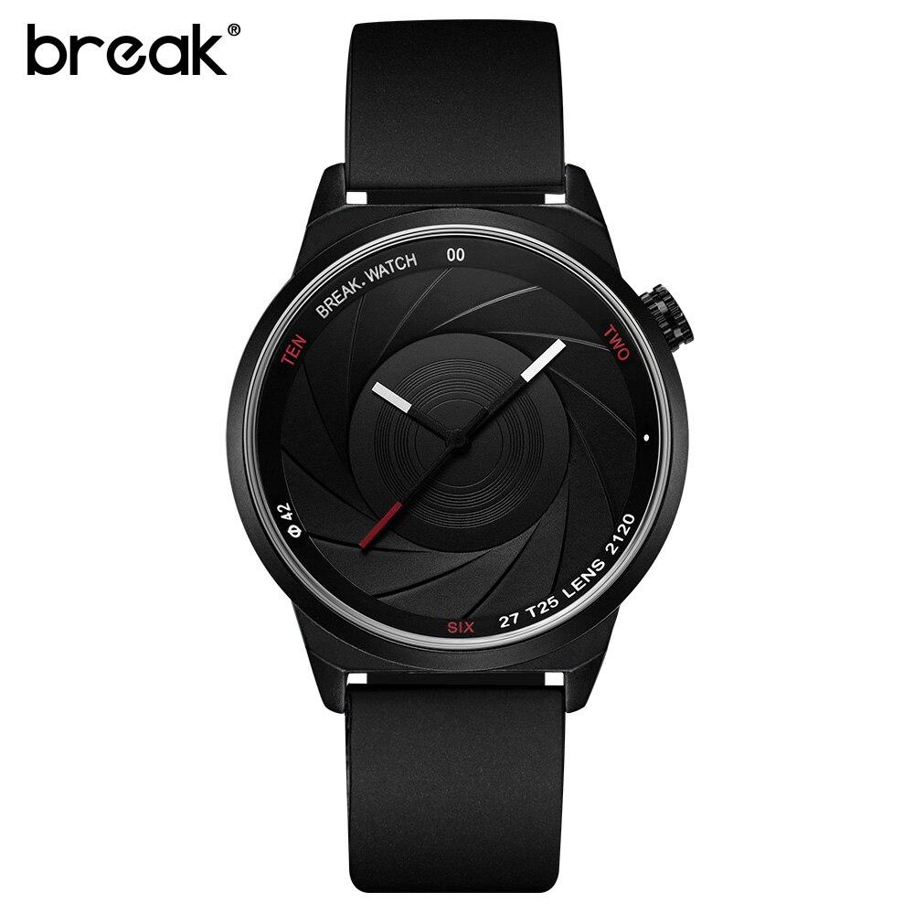 BREAK Men Luxury Brand Fashion Casual Rubber Band Aperture Quartz Wristwatches Unique Unisex Women Creative Sports