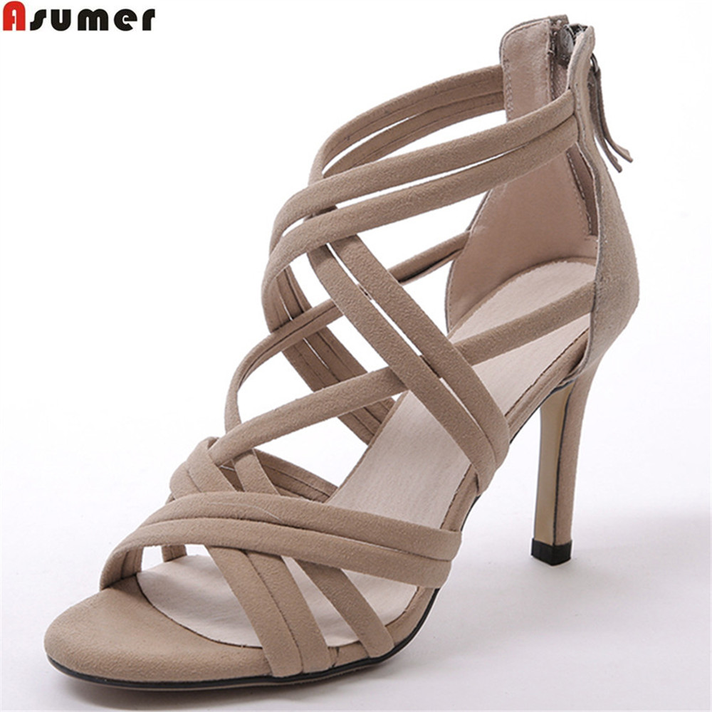ASUMER black apricot fashion new women shoes zipper ladies kid suede sandals thin heel elegant leather super high heels shoes 2014 new designer black women fsahion zipper sandals pumps sotf suede leather shoes commodities trading platform cheap sandals