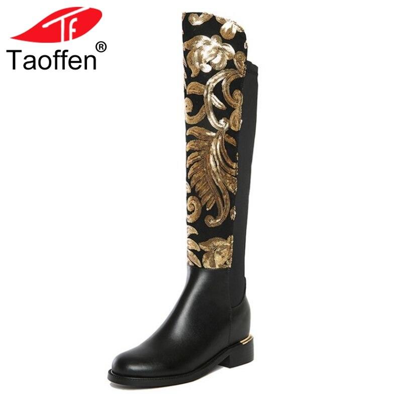 TAOFFEN taille 34-42 femmes bottes en cuir véritable imprimé fermeture à glissière bout rond genou femmes bottes Vintage Mature chaussures pour femmes