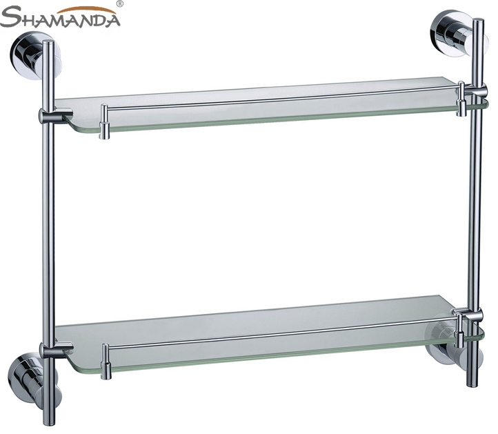 Direct Selling Hot Sale Bolt Inserting Type Free Shipping-bathroom Accessories Solid Chrome Double Shelf -wholesale-84012 hot sale prdl18 7dn lengthen type