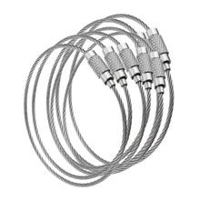 100 pçs fio edc ao ar livre chave de aço inoxidável chaveiro anel bloqueio gadget círculo corda cabo laço tag parafuso acampamento bagagem