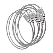 100 pièces EDC fil extérieur clé en acier inoxydable porte clés anneau serrure gadget cercle corde câble boucle étiquette vis camp bagages