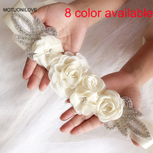 8 Color Available Flower Belt Champagne Beaded Silver Bridal Dress Accessories Cinturon Flores Boda Ceinture Mariage