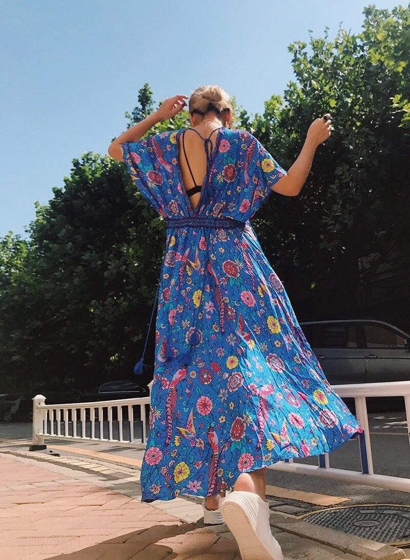 Long Dresses Boho Dress Sexy Chiffon Tassel Short Sleeve Women Dresses 201 Blue Bird Floral Print Summer Dress Bohemia in Dresses from Women 39 s Clothing