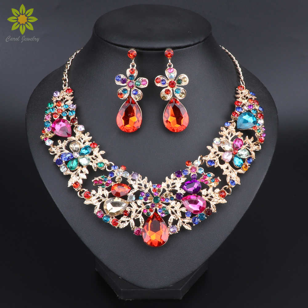 Fashion Multicolor Flower Crystal Necklace Earrings Set Bridal Jewelry Sets for Brides Wedding Party Costume Jewellery Sets