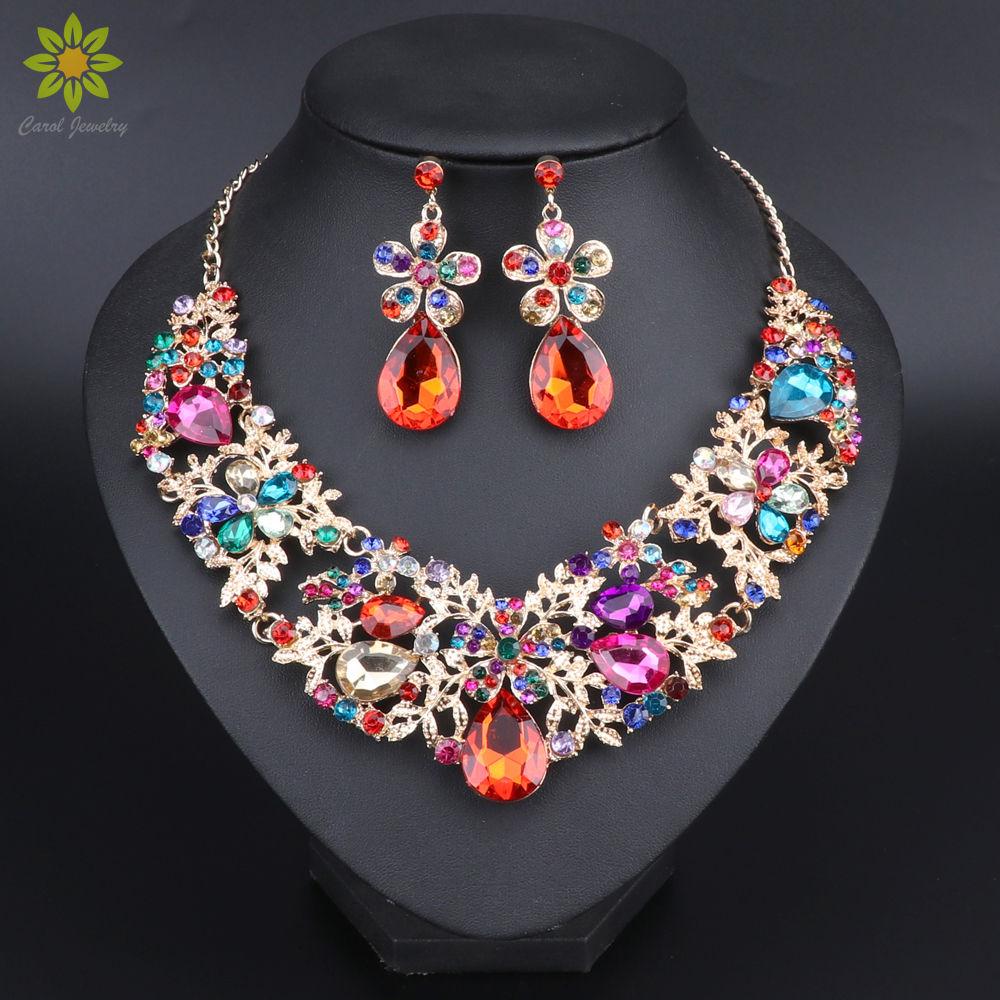 Fashion Multicolor Flower Crystal Necklace Earrings Set