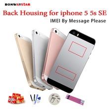 Сзади Корпус для iphone 5 5S 6 металлический корпус назад корпус батареи для iphone SE 6 среднего рама шасси тела пользовательские IMEI + подарок
