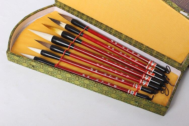 7 pièces Nylon/poney cheveux/soies de belette calligraphie chinoise pinceau stylo et boîte de rangement laine cheveux peinture pinceaux ensemble