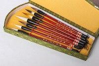7PCS Nylon/ Pony Hair/ Weasel Bristle Chinese Calligraphy Brush Pen and Storage Box Wool Hair Painting Brushes Set