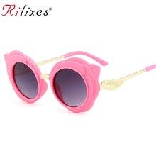 RILIXES, Новое поступление, круглые прекрасные солнечные очки для детей, модные очки для девочек, Защитные солнцезащитные очки, детские очки розового цвета