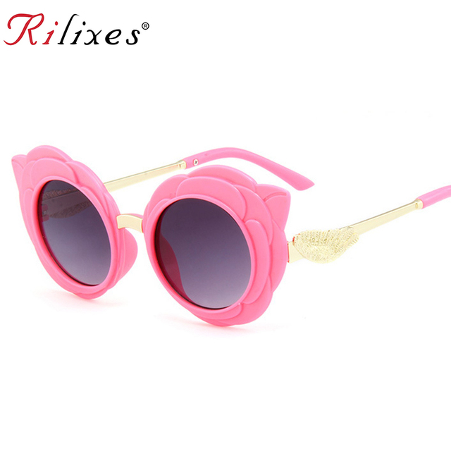 RILIXES new arrival round lovely kids sunglasses girls fashion goggle protective Sun glasses children Eyewear pink color