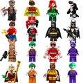 16 Pcs Super Heroes Batman Robin Filme Mini Harley Quinn Baleia Assassina Poison Ivy Palhaço Figuras Blocos Brinquedos Builidng Legoe