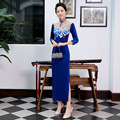 Autumn Winter Hot Sale Classic Ladies Long Velvet Cheongsam Vintage Chinese Style High Slits Qipao Dress Vestidos S-XXXL
