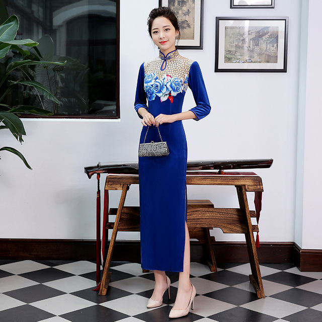 906d3dc20 Autumn Winter Hot Sale Classic Ladies Long Velvet Cheongsam Vintage Chinese  Style High Slits Qipao Dress