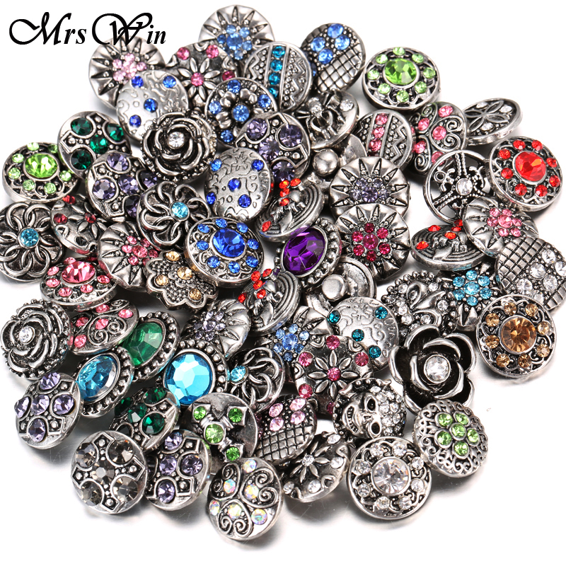 100pcs/lot Wholesale 12mm 18mm Snap Button Jewelry for Snap Bracelet Mixed Rhinestone Metal Charms DIY Buttons Snap Jewelry image