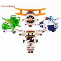 SHINEHENG 4 sztuk/zestaw Super Skrzydła Mini Samoloty Zabawki Samolot Transformacja Robot Action Figures Dziewczyny & Chłopiec Prezent Urodzinowy Brinquedos