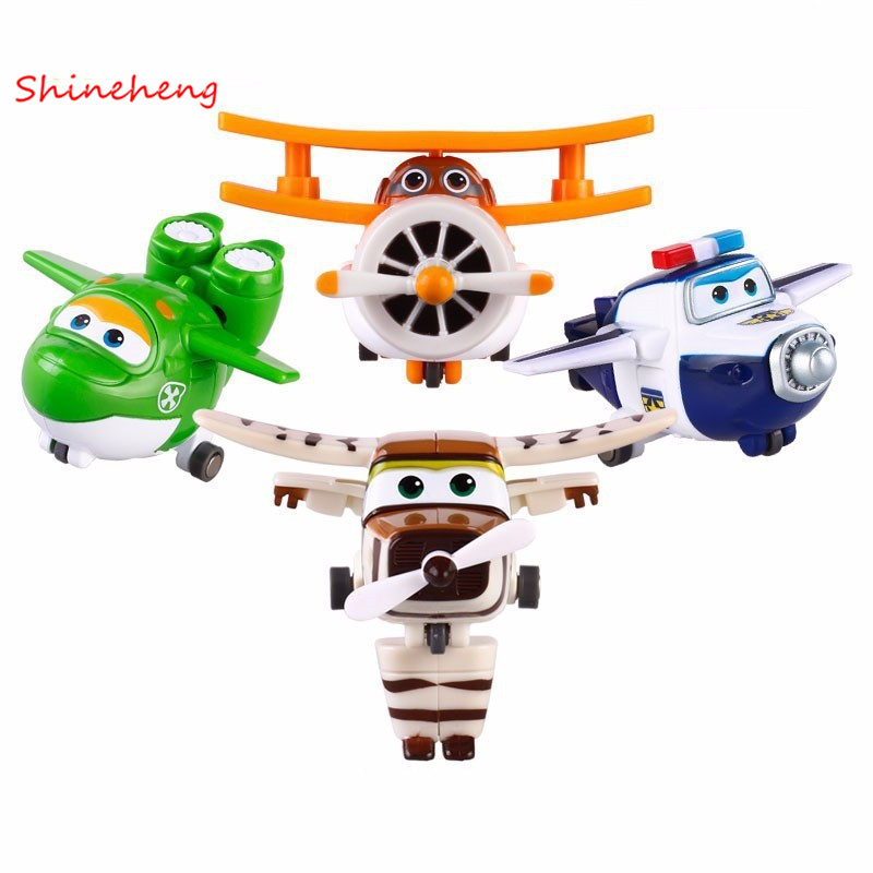 SHINEHENG 4pcs/set Super Wings Mini Planes Toys Transformation Airplane Robot Action Figures Boys&Girls Birthday Gift Brinquedos 3 in 1 super transformation thomas and friends figure toys with package children puzzle figures for birthday gift kids toy set