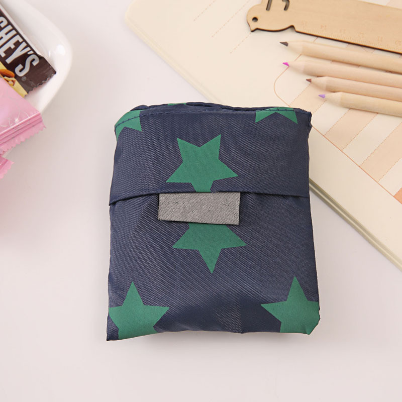 New Hot Sale Fashion printing foldable green shopping bag Tote Folding pouch handbags Convenient Large-capacity storage bags