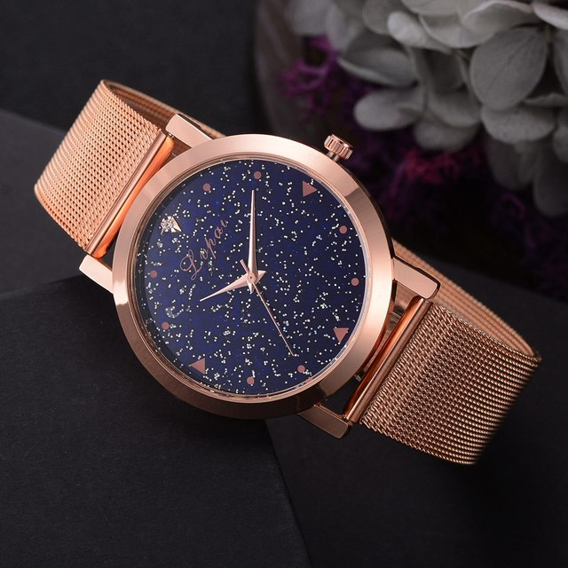 Lvpai Brand Women's Luxury Starry Steel Ladies Rose Case Casual Bracelet Quartz Watches  3