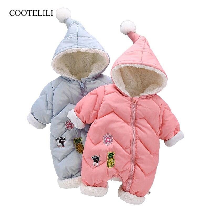 COOTELILI Winter Baby Girls Clothes Baby   Romper   Infant Warm Fleece Clothing Costume Velvet Baby Winter Coat Snowsuit Overalls