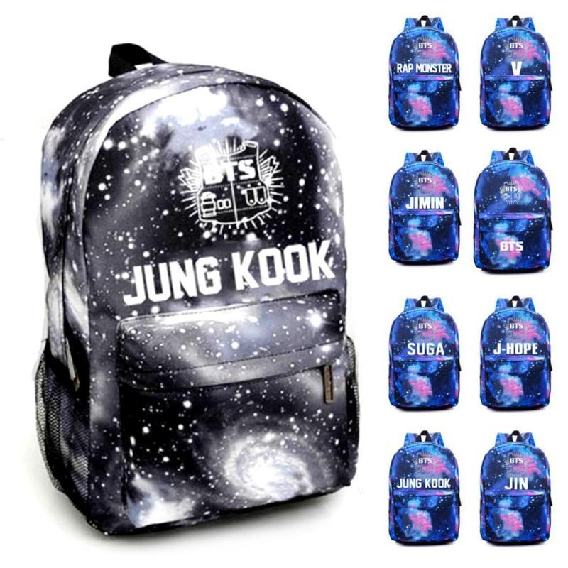Korean Kpop BTS Backpack Canvas Star Printed Rucksack for Teenagers School Bag Travel Bag Mochila Laptop Backpacks Boys Girls Y4 jf u printing backpack cute school bag korean style kpop rucksack women bookbags backpacks for teenage girls mochila feminina