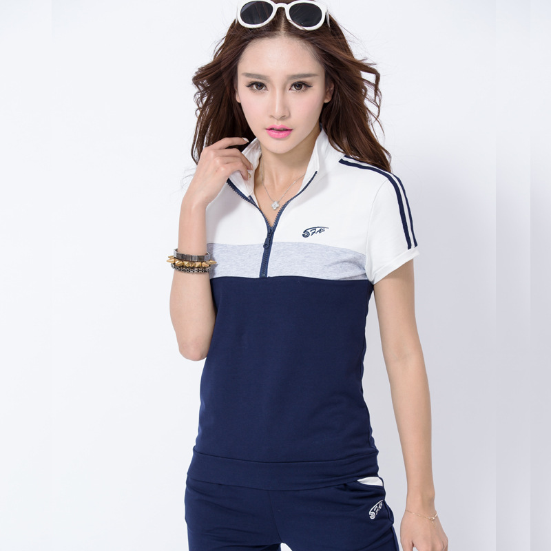 2016 new short-sleeved cotton trousers movement leisure suit collar sweater large size ladies sportswear jogging suits