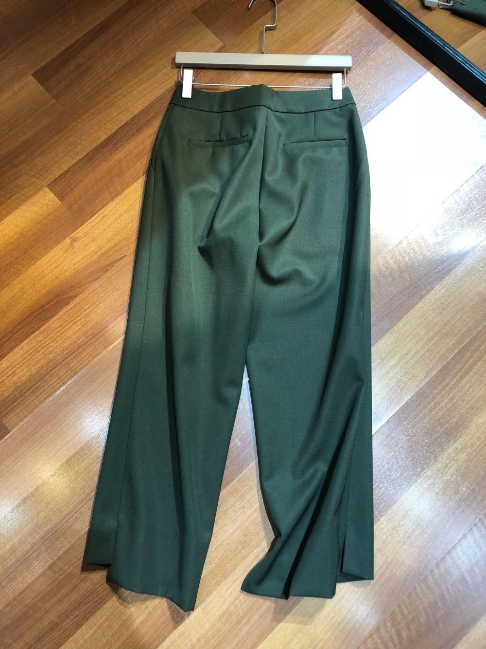 2019 De Pantalones Las Verde Otoño Nuevos Mujeres Ejército Primavera Lana 0320 Y Del Mezcla raqrU