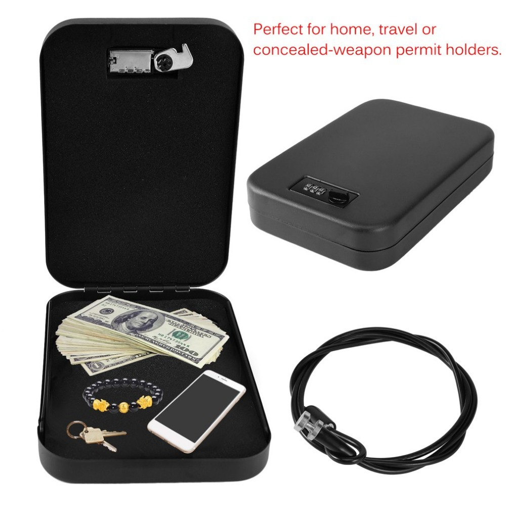 Portable Lockable Security Safe Money Box Storage Organizer Password Cash Jewelry Safe Box Cabinet For Office Home