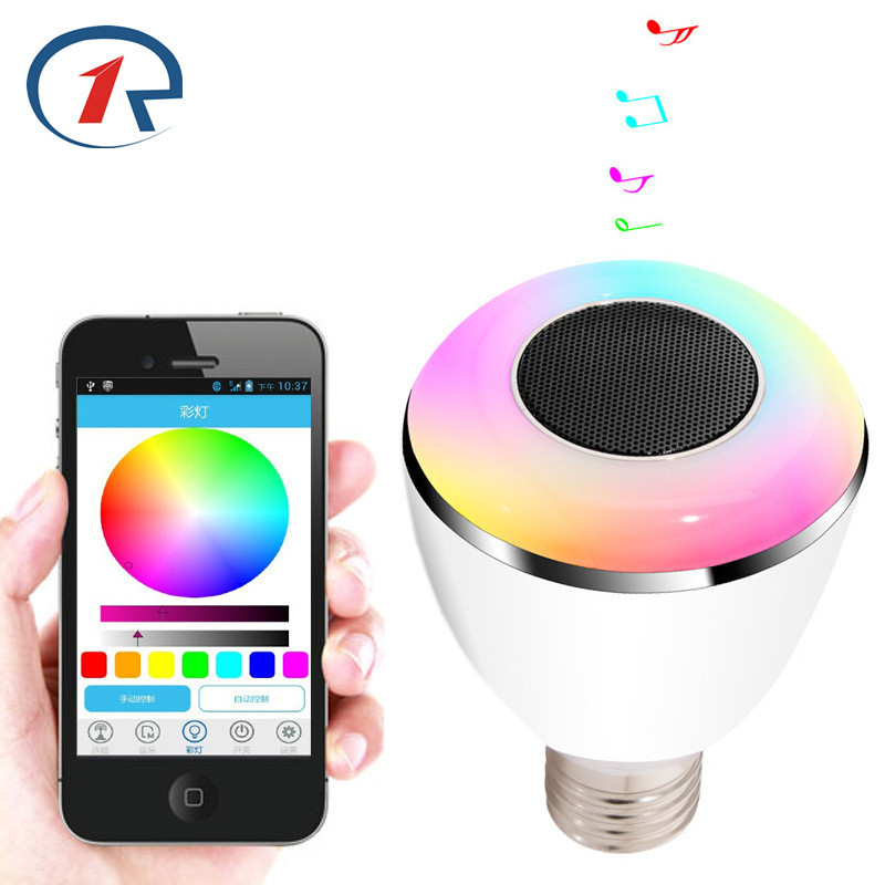 ZjRight Wireless Bluetooth LED Speaker Bulb Audio DJ Controller E27 RGB Music Playing Lighting Smart Bluetooth Colorful Speaker portable professional 2 4g wireless voice amplifier megaphone booster amplifier speaker wireless microphone fm radio mp3 playing