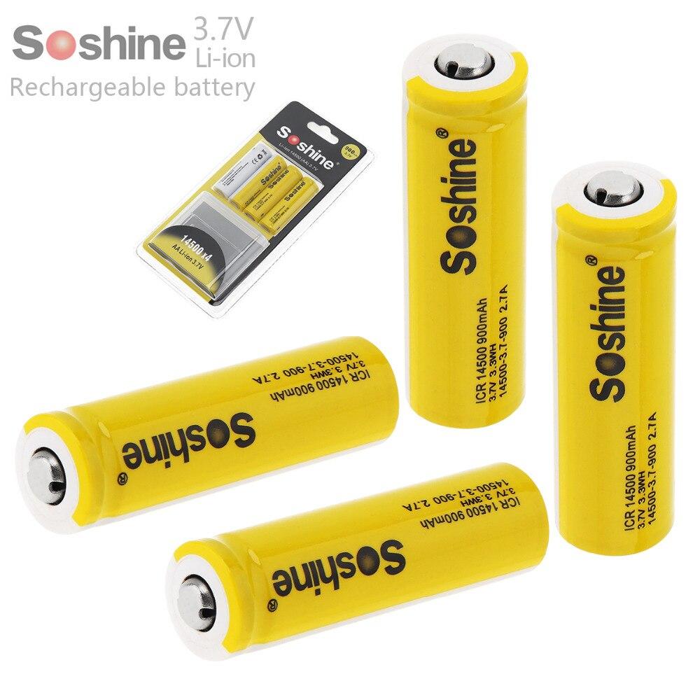 4 stück Soshine 3,7 V ICR 14500 900 mAh Li-Ion Akku mit Sicherheitsventil + Batterie Box für taschenlampen Scheinwerfer