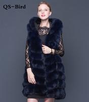 Real Fur Vest Winter Fashion Women Genuine Fur Vest Furry Long Real Fox Fur Vest With Hood Female Natural Fur
