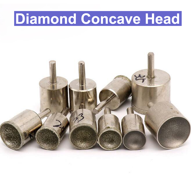 1pcs 3-25mm Diamond Grinding Bit Spherical Concave Head Mounted Point Jade Carving Lapidary Tools Sculpturing Bead Stone Gems 8