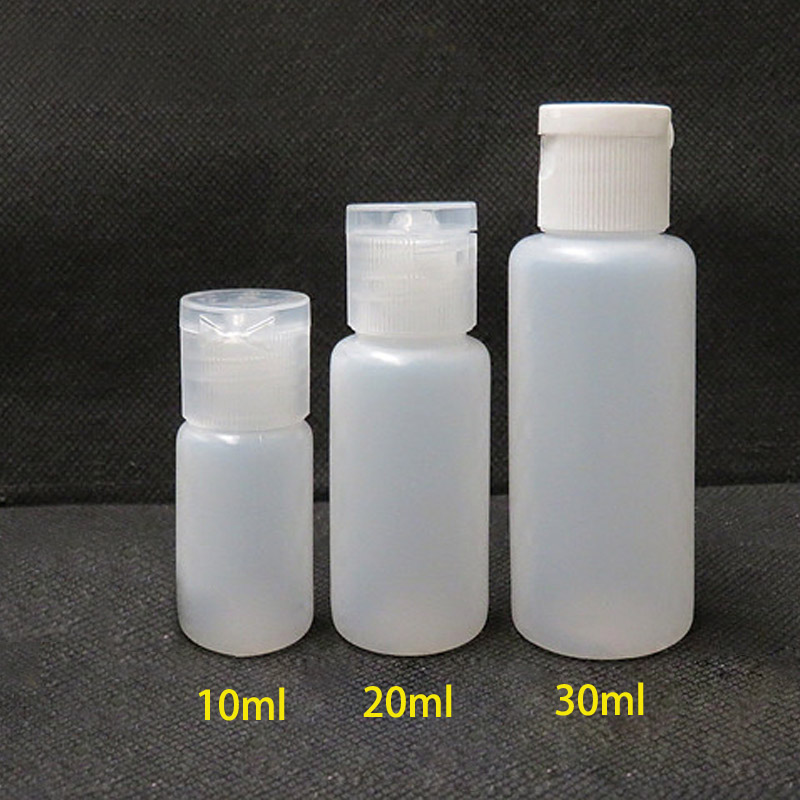 10pcs 10ml 20ml 30ml Plastic PE Flip Lid Lotion Bottles Squeezable Cosmetic Sample Container Travel Liquid Screw Cap Fill Vials