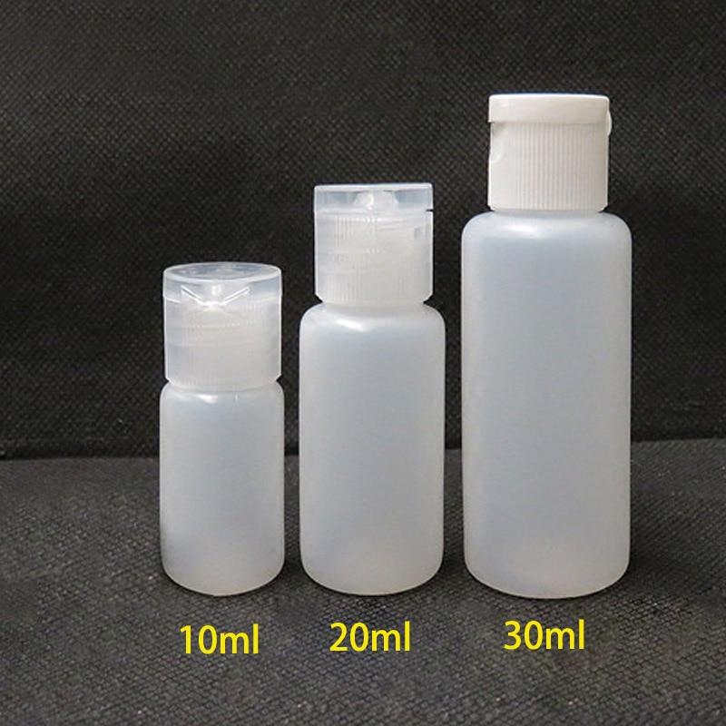 10pcs 10ml 20ml 30ml Plastic PE Flip Lid Lotion Bottles Squeezable Cosmetic Sample Container Travel Liquid Screw Cap Fill Vials