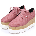 Green Pink Women Thick Sole Bottom Platform Flat Wedge Shoes Casual Weave Gingham Leather Creeper Triffle Shoes Oxfords Loafers