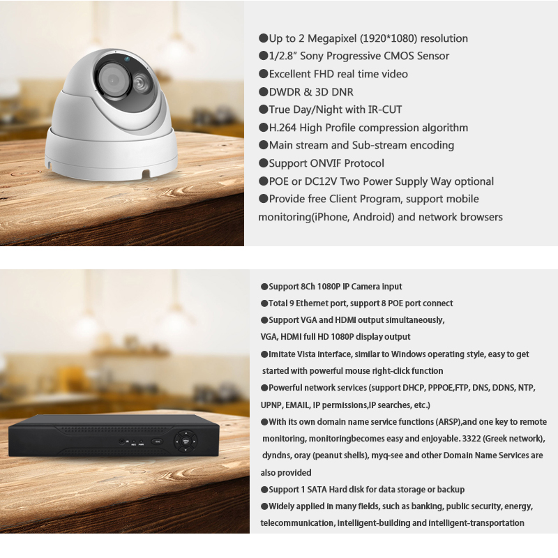 US $398 99 |Amorvue 1080P IP Camera Video Security System 8CH PoE NVR  Recorder System 2MP Dome Camera 8 Channel POE NVR CCTV Camera System-in