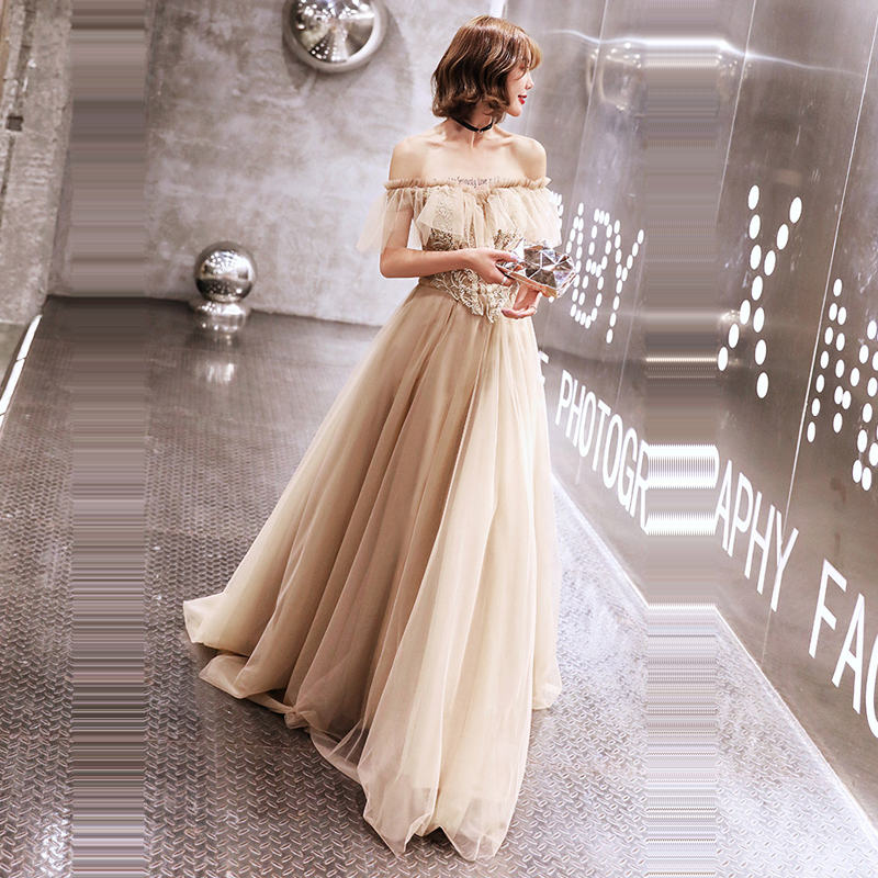 Evening Dress Off The Shoulder Robe De Soiree Backless Pearls Women Party Dresses 2019 Plus Size Short Sleeve Formal Gowns E690